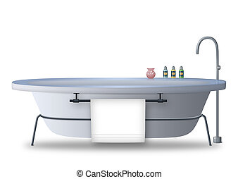Bathtub with towel rack and bath items