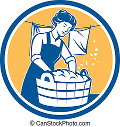 Housewife Washing Laundry Vintage Circle - Illustration of a...