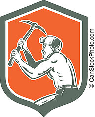 Coal Miner With Pick Axe Shield Retro