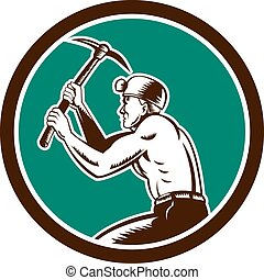 Coal Miner With Pick Axe Circle Retro