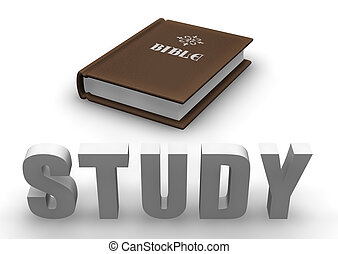 "Bible Study - Bible with 3D word ""STUDY""."