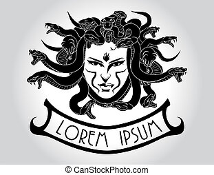 Medusa Gorgon head with snake hair. - Illustration of Medusa...