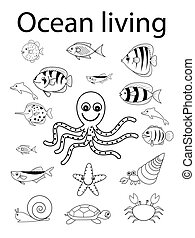 sea and shell ocean animals - black and white sea and shell...