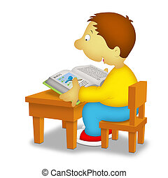 Boy Reading - Boy sitting in front of desk reading a book...