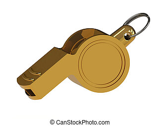 whistle isolated on white - golden whistle isolated on white...
