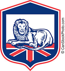 Lion Lying British Flag Shield Retro - Illustration of a...