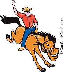 Rodeo Cowboy Riding Bucking Bronco Cartoon - Illustration of...