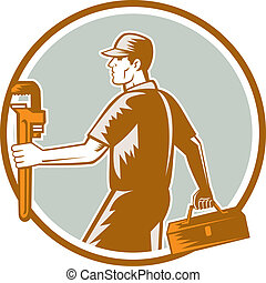 plomero,  Woodcut, llave inglesa, llevar, círculo, caja de herramientas