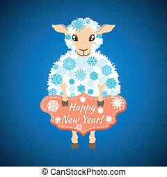 background with sheep - Christmas background with sheep,...