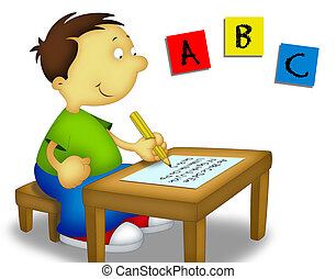 Child Studying 1 - Little boy sitting and writing the...