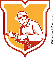 Home Insulation Technician Retro Shield - Illustration of a...