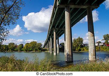 under bridge view Sorel-Tracy, Qc, Canada