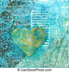 collage artwork with heart - Blue collage artwork with...