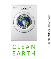 Clean Earth - Planet earth inside washing machine