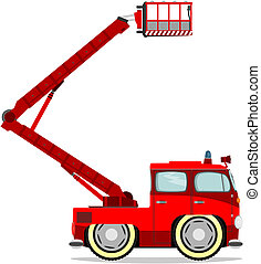 Funny firetruck - Cute cartoon firetruck Vector without...