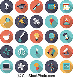 Flat design icons for science and education. Vector eps10...