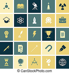 Flat design icons for education and science. Vector...