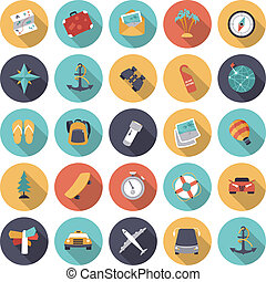 Flat design icons for travel and transportation. Vector...