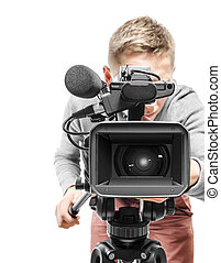 vídeo, cámara, operador
