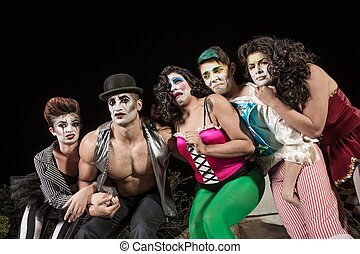 Crying Cirque Clowns - Group of crying cirque clowns on...
