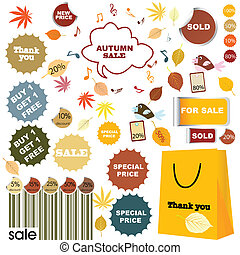 Autumn sale - set of stickers and labels