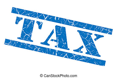 Tax blue square grunge textured isolated stamp