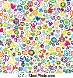 Flower power background seamless pattern with flowers, peace...