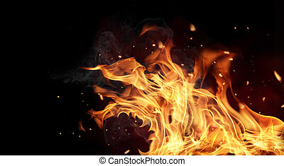 Fire flames on black background - Fire flames isolated on...