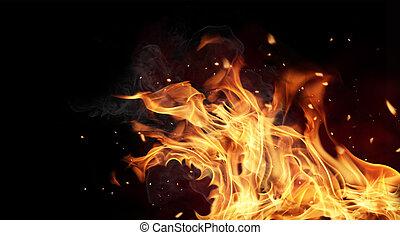 brûler, Flammes, noir, fond
