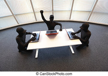 gang of hackers - group of anonyous hackers in black...