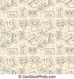 Audio cassette Seamless pattern - Seamless pattern of...