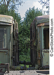 two old rusted trains at trainstation hombourg - old rusted...