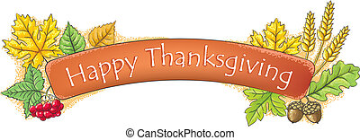 Happy Thanksgiving banner. Contains transparent objects....