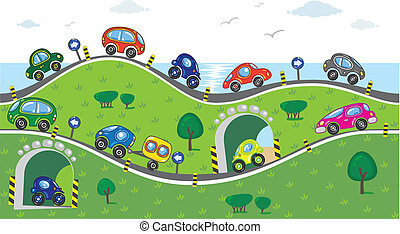 Cars on the road - Horizontal seamless pattern with cars,...