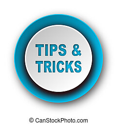 tips tricks blue modern web icon on white background