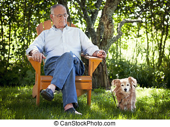 Senior Man With His Dog - Friendship, Alternative Therapy,...