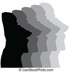 Easter Island Monolithic Heads in shades of grey isolated...