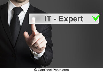 businessman pushing button it expert - businessman in black...