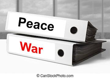escritório, pastas, paz, guerra