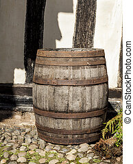 Large traditional oak barrel standing alone - Large...