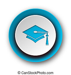education blue modern web icon on white background