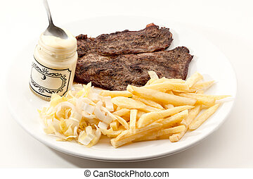 cooked steak with fries - Drierib steak and fries with...