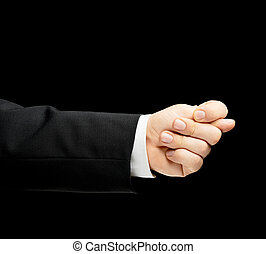 Caucasian male hand in a business suit isolated - Caucasian...