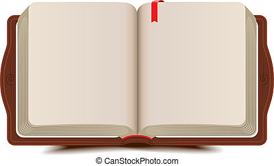 Open book diary with bookmark. Vector cartoon illustration