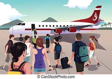 Tourists boarding on a plane - A vector illustration of...