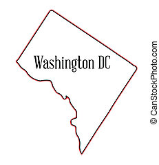 Washington DC - Outline map of the state of Washington DC...
