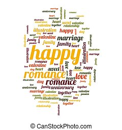 Happy word and tag cloud on white background
