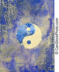 Ying and Yang - Collage with ying and yang symbol, artwork...