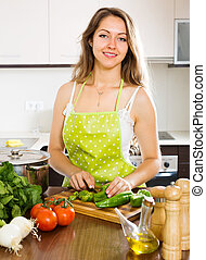 woman in apron  at kitchen