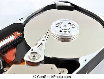 Close-up of internal components of a harddisk drive (HDD)